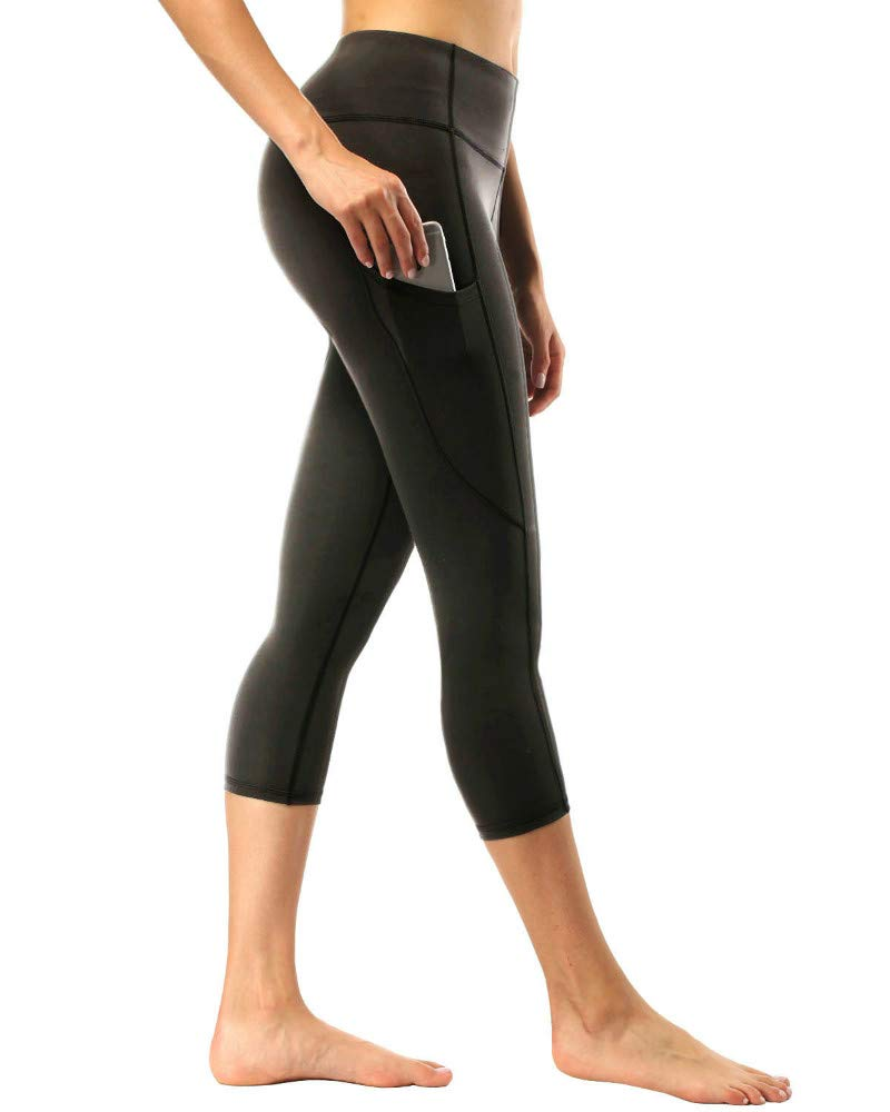 romansong Workout Capri Leggings with Side Pocket High Waist Stretch Active Capris Athletic Running Compression Yoga Pants for Women Capri Length(Black,Large) by romansong