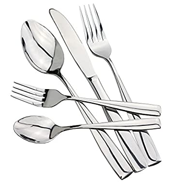 HOMMP Stainless Steel Flatware Sets, 55-piece, Service for 11