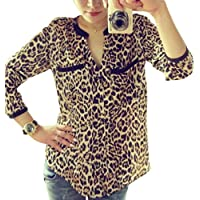 Litetao Womens T-shirt New Leopard Print Top Long Sleeve Chiffon Slim Button Blouses