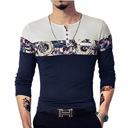 LOGEEYAR Men's Casual Slim Fit Long Sleeve Color Block Printing Henley T-Shirts(Navy blue,L)