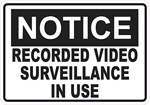 5in X 3.5in Notice Video Surveillance Sticker Vinyl Signs Business Sign