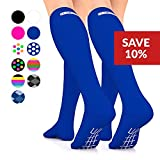 Go2Socks GO2 Compression Socks for Men Women Nurses Runners 16-22 mmHg (Medium) - Medical Stocking Maternity Travel - Best Performance Recovery Circulation Stamina - (Blue, Medium Two)