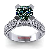 RINGJEWEL 3.50 ct VVS1 Round Moissanite Solitaire Engagement Silver Plated Ring Blue Green Color Size 7
