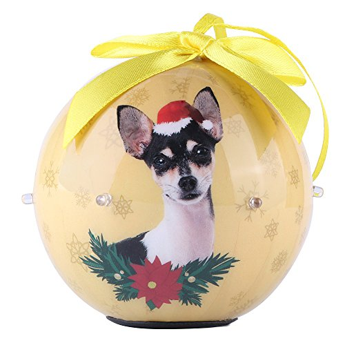 CueCue Pet CUECUEPET Christmas Winter Decoration Shatterproof Memorial Lightup Ball with Top Bow-Chihuahua Holiday Ornament, One Size, Yellow
