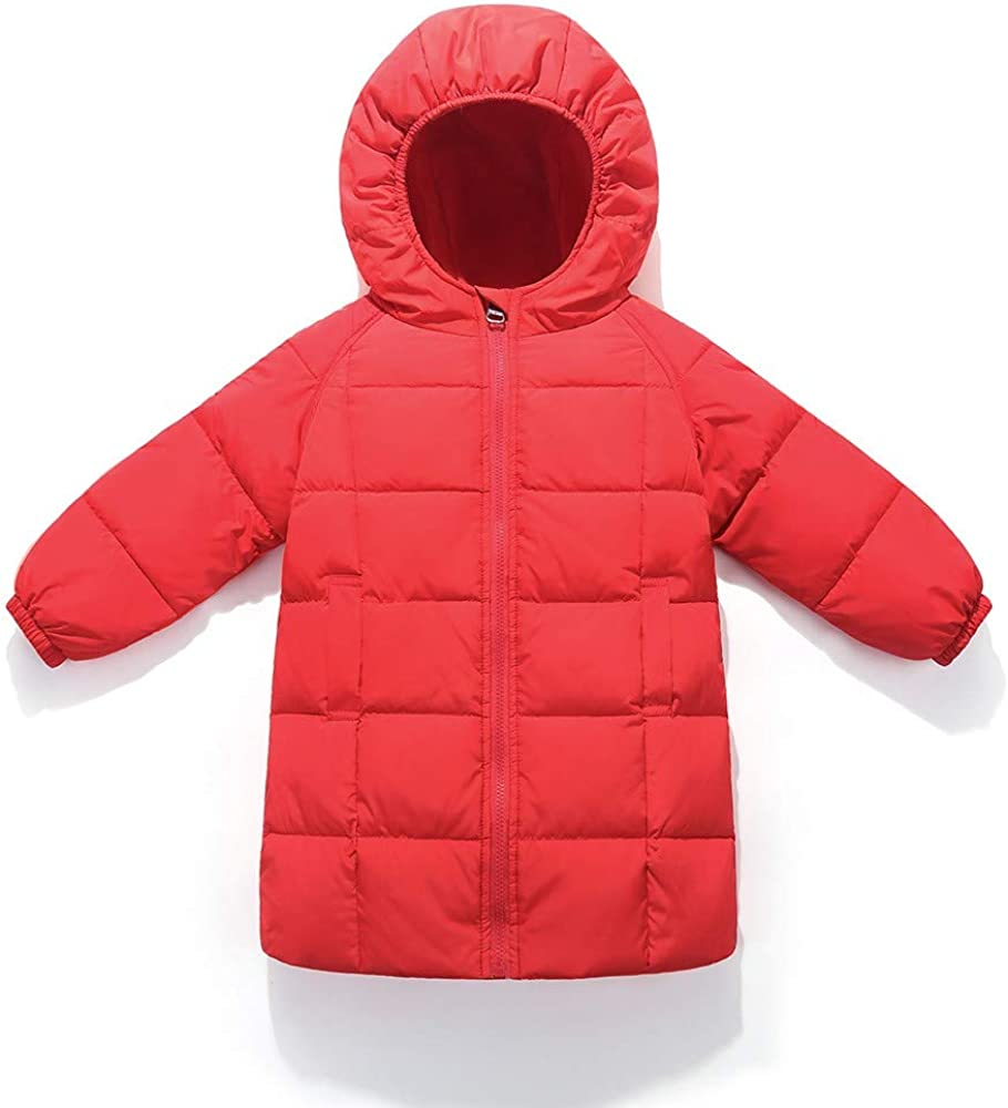 TM Clearance Toddler Baby Kids Little Boy Girl Winter Hooded Jacket Keep Warm Outerwear Long Coat for 1-6 Y Jchen