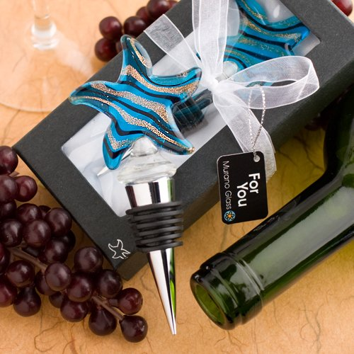 ion Starfish Design Wine Bottle Stoppers , 36 (Murano Glass Wine Stoppers)
