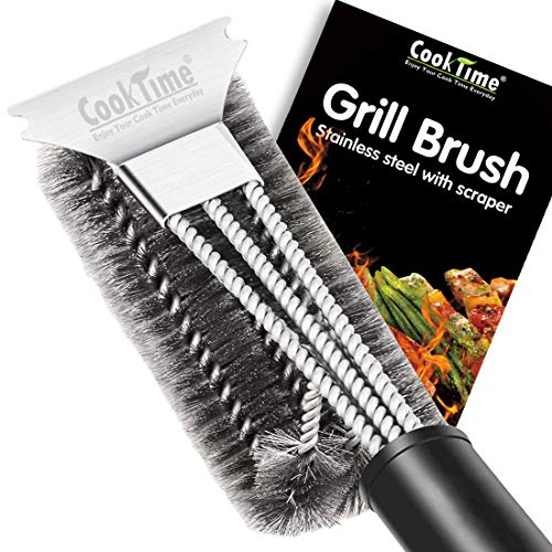 BBQ Grill Brush and Scraper 18'' Wire Bristles Grill Cleaning Brush 3 in 1 Barbecue Cleaner with Triple Scrubber,Perfect for Weber Gas/Charcoal Grill Grates by Cook Time