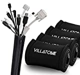 VILLATONE - Wire Organizer. Set of 5 × 20'' [100 inches] Black Flexible Neoprene Cable Organizer Management Sleeves with Zipper for TV, Computer & Electronics Cords