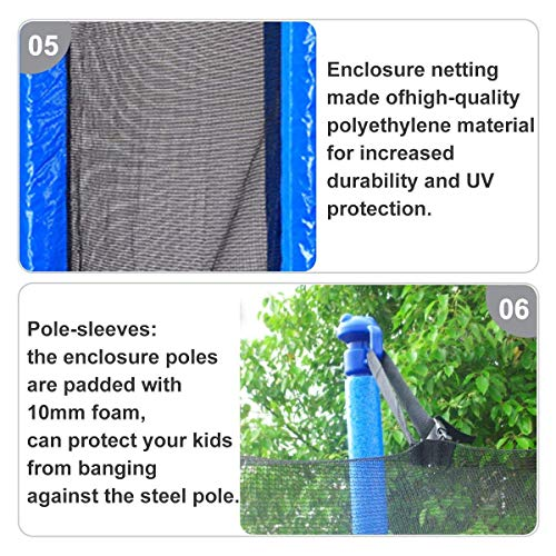 Zupapa 15FT 14FT 12FT TUV Approved Kids Trampoline with Enclosure net, Ladder Pole Safety Pad Jumping Mat Spring Pull T-Hook, Include All Accessories, Great Outdoor Backyard Trampoline (15FT) by Zupapa (Image #7)