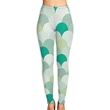 94717f45e2 Amazon.com: Mermaid Scale Green Women's Funny Print Yoga Leggings Pants  Sport Capri Leggings Workout Pants Gym Tights: Clothing