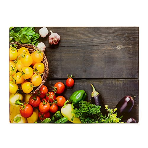 Glass Cutting Board For Kitchen - Counter Saver and Serving Tray, 16 x 12 inches - these Boards have a Vegetables Design