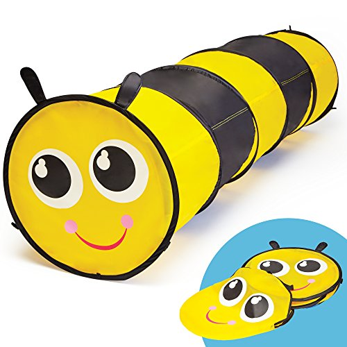 GigaTent 6 Foot Pop Up Kids Play Tunnel - Bumble Bee Hide and Seek Tube for Babies, Toddlers, Dogs and Pets - Indoor or Outdoor Adventure, Folds Flat, Carrying Bag Included]()