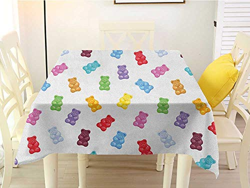 L'sWOW Square Tablecloth Wedding Kids Vibrant Colored Gummy Bears Candies Delicious Jelly Sugary Snack Chewy Sweet Taste Multicolor Clean 36 x 36 Inch