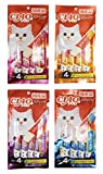INABA CIAO CHURU Stick Cat Lickable Puree Creamy Cat Treat, Original Japanese Cat Snacks 4 Pack 16Pcs X 15g (4 Flavors) For Sale