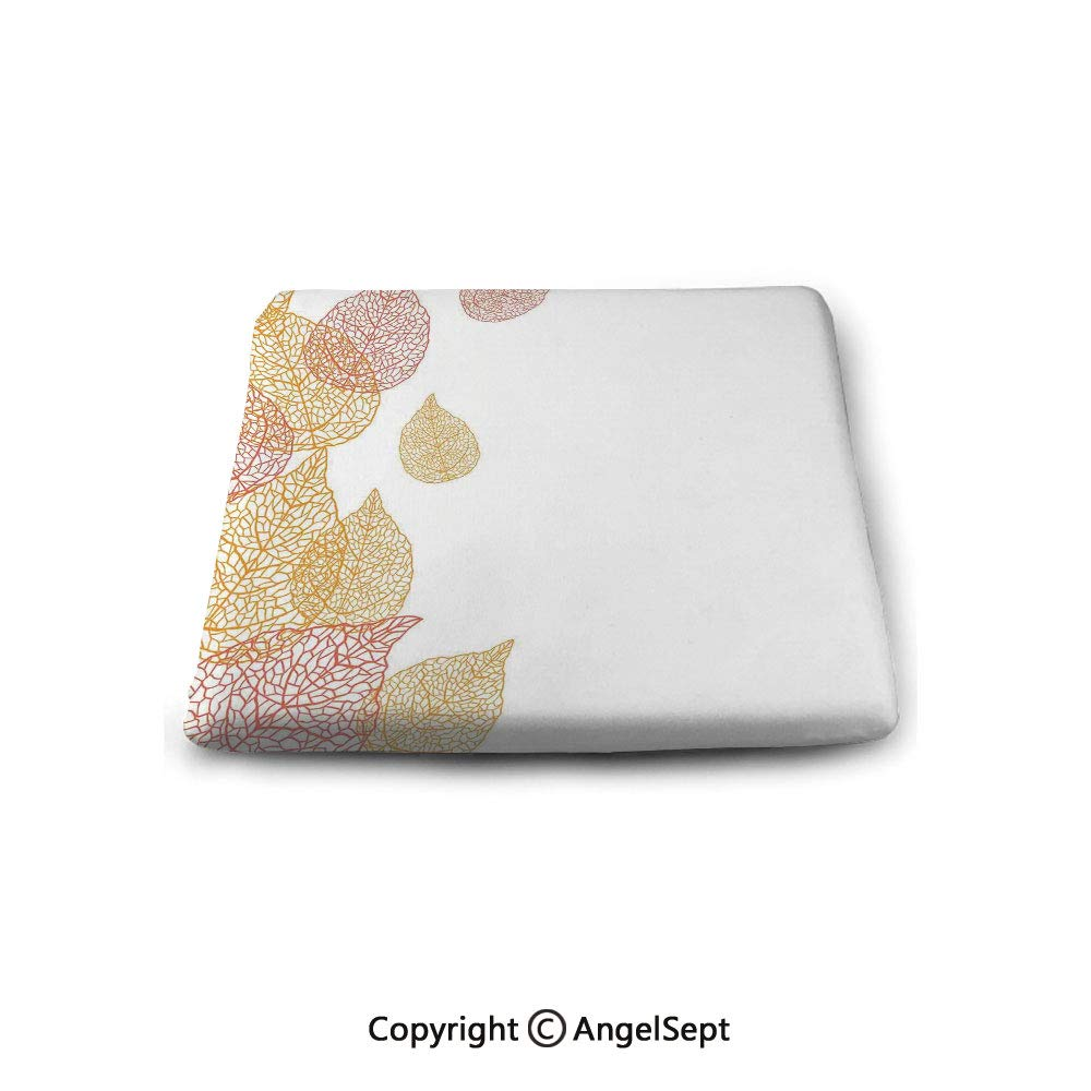 Square Chair Seat Cushion for Kitchen Dining Chairs,Leaves,Illustration of Fall Leaves Stylish Modern Pattern Romantic Simple Art with Soft Colors Decorative,Coral Gold,Memory Butt Pad Non Slip