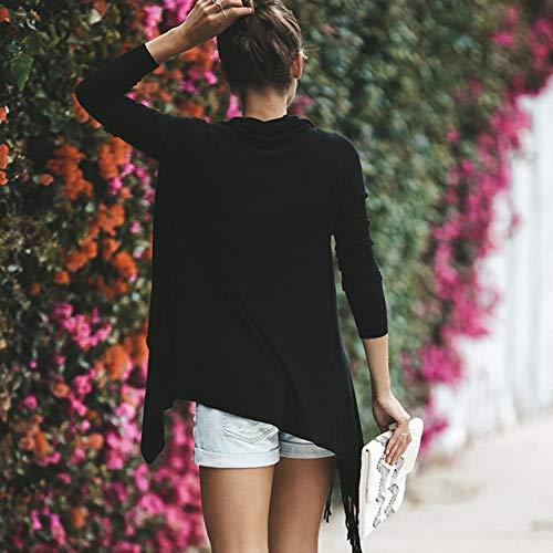 Bouton Baggy Irrégulier Noir Manteau Blanc Gland Mode Veste D'hiver Châle Tricot Blouse Cardigan Automne Femmes Surdosage Manteaux Vente 4wS0q