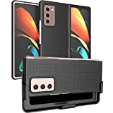 Case with Clip for Galaxy Z Fold 2, Nakedcellphone [Black] Grid Texture Slim Hard Cover and Custom Belt Hip Holster Holder View Stand Combo for Samsung Galaxy Z Fold 2 5G Phone (SM-F916) (Color: Black)