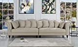 Classic Linen Chesterfield Scroll Arm Large Living Room Sofa (Beige) Review