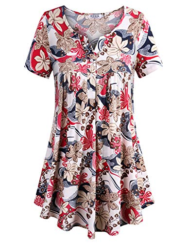 DSUK Floral Swing Tunic, Women's Loose-Fitting Perfect Basic Vintage Swing Cut Chic Surroundings Vocation Baggy Lovely Leisure Attire Paisley Blouse Sweatshirt for Holiday WE-XL White - Vintage Paisley Blouse