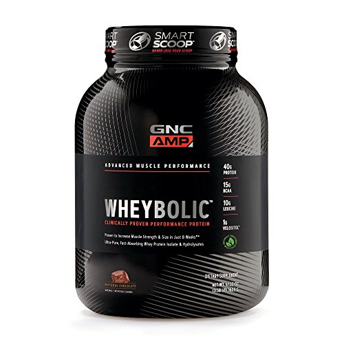 GNC AMP Wheybolic Whey Protein Powder, Natural Chocolate, 25 Servings, Contains 40 Protein, 15g BCAA, and 10g Leucine Per Serving