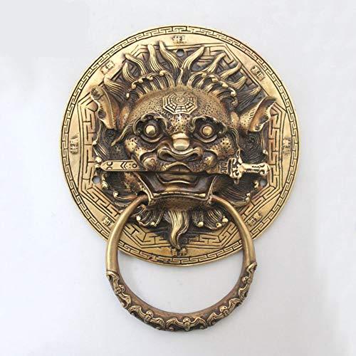 Bronze Chinese Antique Brass Animal head Door knocker,Handle Classical Shop head Gossip copper,For Gate Garden-A ()