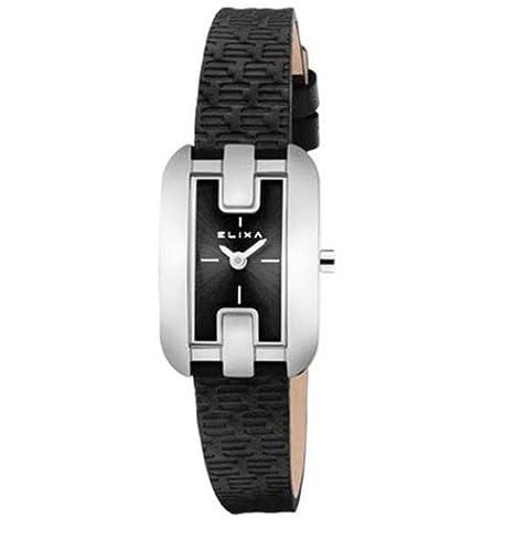 Reloj mujer Elixa Finesse solo tempo Lady acero piel Black Dial e086-l327: Amazon.es: Relojes