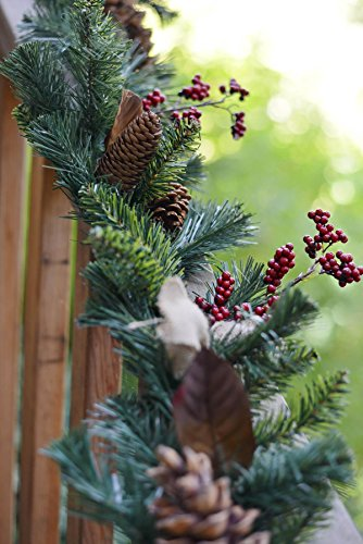 Richland Pine, Pine Cone, Berry Christmas Garland with Burlap Bows - Garlands Christmas