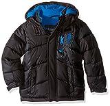 U.S. Polo Assn. Boys' Big Boys' Hooded Bubble Jacket, Black/Blue Logo, 8