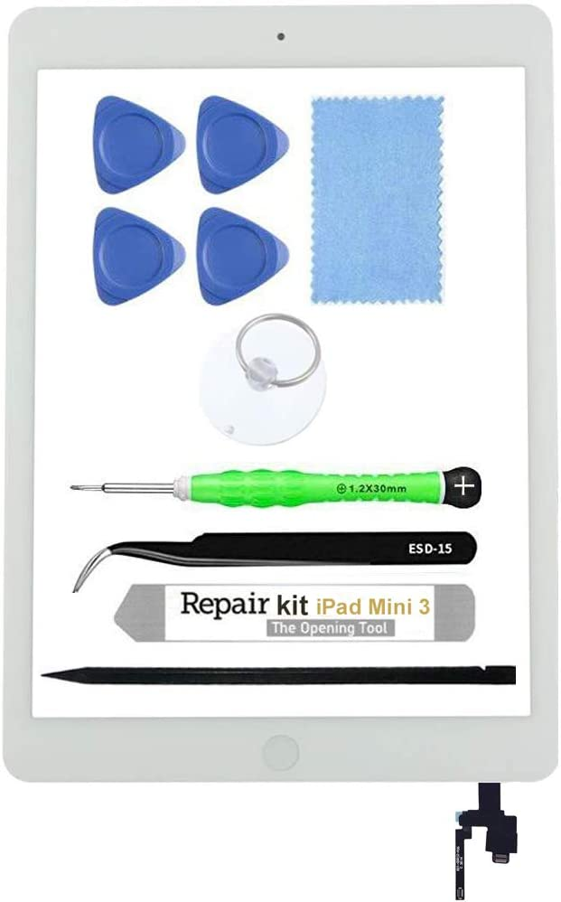 for iPad Mini 3 A1599 A1600 Screen Replacement Glass Touch Digitizer Repair Kit with Home Button & Tools (White)