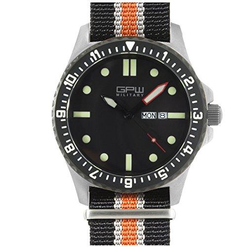 German Military Titanium Watch. GPW Day Date. 200M W/R. Sapphire Crystal. Black White & Orange Nylon Strap.