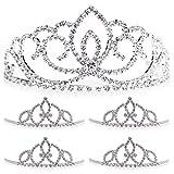 Silver Tiara and Court Set, Queen Tiara 2 1/4'' high and 4 Court Tiaras 2'' high