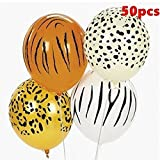 ZHCHL 50Pcs/Pack 12 Inch Jungle Animal Print Safari Party Balloons for Party Decoration (Size: mixed-50pcs)