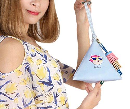 C91448 Blue PU Clutch With Wallet Strap Triangle Women's LIZHIGU Wristlet Wrist Purse Leather qC5SFxP