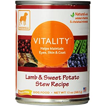 Dogswell Vitality for Dogs, Lamb & Sweet Potato Stew Recipe, 13-Ounce Cans (Pack of 12)