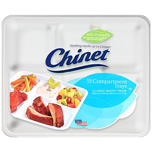Chinet Classic 5-Compartment Fiber Rectangular Tray, White, 15 Count (Pack of 12)