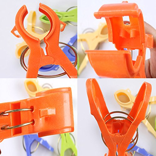 Daixers 12pcs 4.7'' Durable Large Beach Towel Clips Plastic Clothespins Clothes Pegs Pins Clothes Hanger Clamp by Daixers (Image #3)