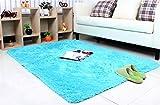 Meng GE Cosy Shag colección sólida alfombra moderno salón y recámara alfombra peluda y suave, Azul, 4'x5.3'(120 * 160cm), 1