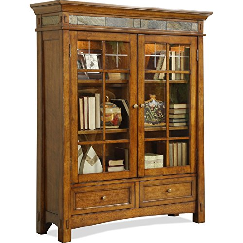 rustic bookcase with glass doors - 1