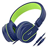 Besom i36 Kids Headphones with Microphone 3.5mm Stereo Adjustable Foldable Headset, Tangle-Free Cord, Wired On-Ear Headphones for Children,Teens,Girls,Boys,Adults(Blue/Green)