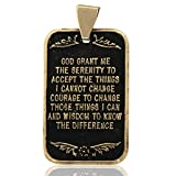 """Alcoholics Anonymous 1"""" Solid 10K Gold AA Serenity Prayer Dog Tag Pendant Engravable"""