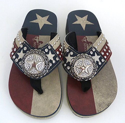 Ladies Montana Flip Flops Texas Star Blue Navy Flag Lone West CwPqUSxnwF