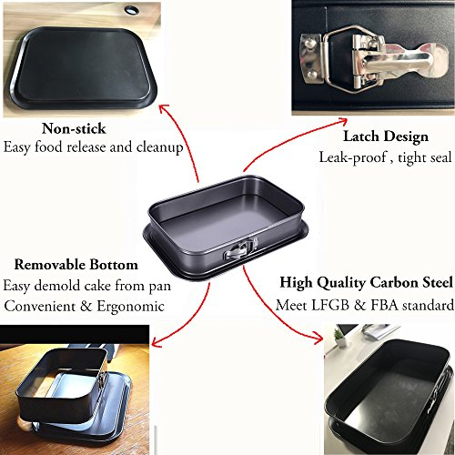 """Non-stick Cheesecake Pan, Springform Pan, Rectangle Cake Pan with Removable Bottom Leakproof & Quick Release Latch Bakeware 14""""9.3""""3"""" Black BY ERYA by Eyra (Image #2)"""
