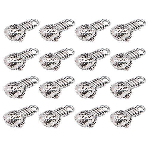 JETEHO 50 Pcs Antique Silver Tone 3D Boxing Gloves Charm Pendant Sport Charms DIY Supplies for Jewelry Making Bracelets