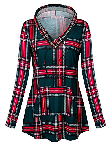 Tanst Ladies Hoodies Pullover Womans Loose Fitted Raglan Sleeve Youth Sweatshirt Gorgeous Soft Comfy Dailywear with Front Pockets Reindeer Vintage Sweater for Christmas Plaid L