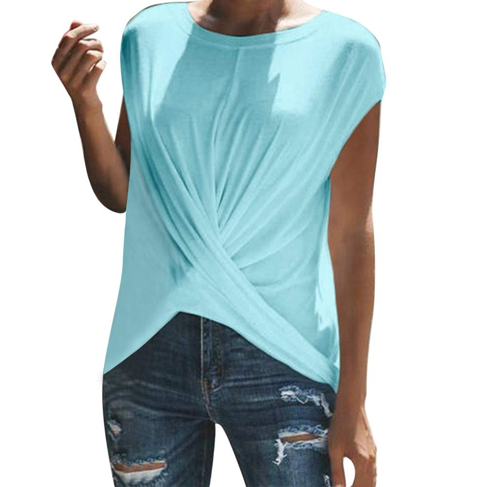 Women Blouse Sale VANSOON Fashion Solid O-Neck Dance Short Sleeve Sport Ruched T-Shirt Top for Teen Girls Blue