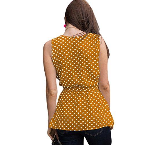 Fit Taille sans Blouse Manches Pois Slim t Causal Femme Imprimer Yellow Basique Chemises Dbardeur p4gPYqz
