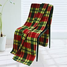 [Trendy Plaids - Red/Green/Yellow] Soft Coral Fleece Throw Blanket (71 by 79 inches)