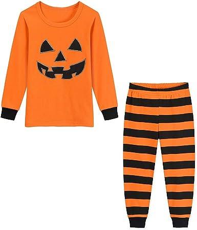 Lenfesh Halloween Niños Niños Niños Ropa de bebé Naranja Calabaza Camisa Estampada Top Pantalones Largos Servicio a Domicilio Pijamas Conjunto Traje: Amazon.es: Ropa y accesorios