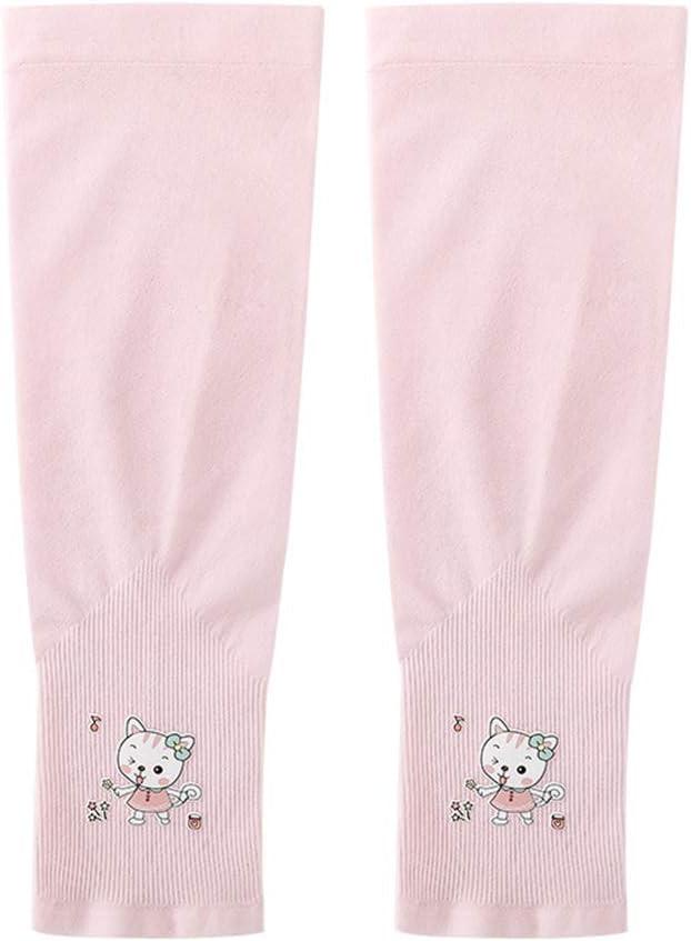 Qiuxiaoaa Kids Sommer UV-Schutz Armstulpen Cartoon Radfahren Sonnenschutz K/ühlhandschuhe Armstulpen Pink Cat