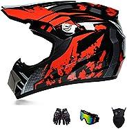 Motorcycle Helmet, Youth Kids Dirt Bike Helmets,Motocross Racing Bike Helmet Four Seasons Universal (Gloves, G